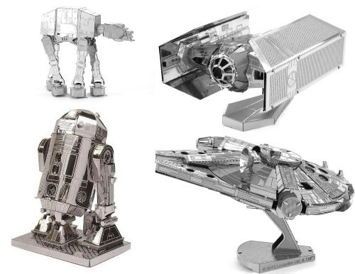 (Metal Earth 3D Model Kits - Star Wars Set of 4 - Darth Vader's TIE Fighter, R2-D2, AT-AT, Millenium Falcon)