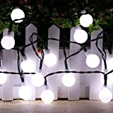 Hulorry Solar Fairy Lights, Outdoor Solar String Lights 50 LED Ball String Lights Holiday Party Decoration Lights for Home, Lawn, Wedding, Patio, Party and Holiday Decorations,White