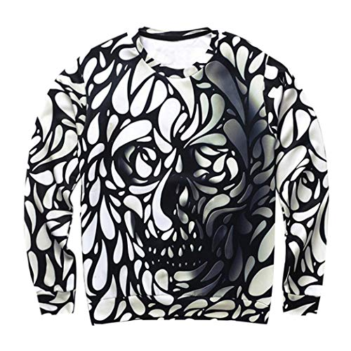 Clearance Deals! vermers Men s Casual Scary Halloween Sweatshirt Skull 3D  Print Party Long Sleeve T 2c2f11d4bc219