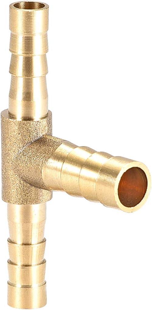 combustible y gas agua conector de p/úas de 3 v/ías de aire en forma de T sourcing map Reductor de manguera de lat/ón de 6 x 8 x 6 mm