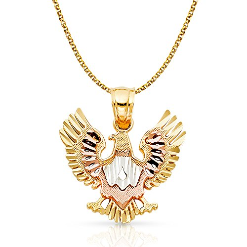 14K Tri Color Gold Eagle Charm Pendant with 1.5mm Flat Open Wheat Chain Necklace - 20