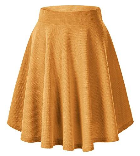 Urban CoCo Women's Basic Versatile Stretchy Flared Casual Mini Skater Skirt (M, Turmeric-Long) ()