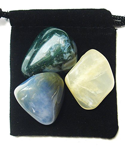- The Magic Is In You Cancer Zodiac/Astrological Tumbled Crystal Healing Set with Pouch & Description Card - Blue Chalcedony, Moonstone, Moss Agate