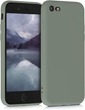 Image ofkwmobile Funda Compatible con Apple iPhone 7/8 / SE (2020) - Carcasa de TPU Silicona - Protector Trasero en Gris Verdoso