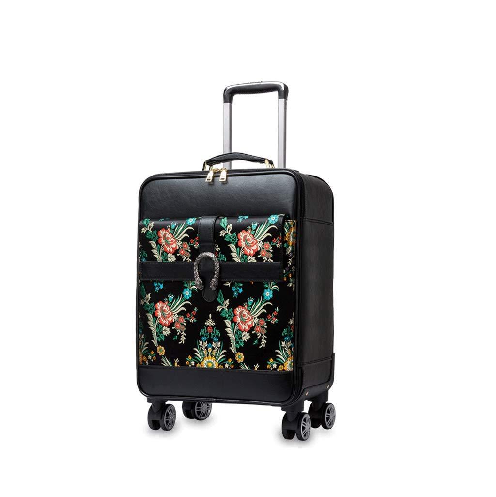 トラベルスーツケース刺しゅう荷物トロリーケースユニバーサルホイールパスポートジャカード刺繍レトロファッション (Size : 44x21x54cm)   B07K1YNBF7