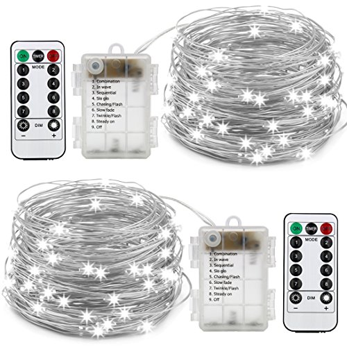 XINGPOLD 2 Set Fairy String Lights Battery Operated Waterproof 8 Modes Twinkling 100 LED String Lights 33FT Copper Wire Firefly Lights Remote Control for Bedroom Wedding Festival Decor (White) (Wreaths Winter Ideas)