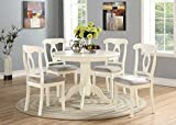 cheap dining table and chairs Angel Line 23511-21 5 Piece Lindsey Dining Set, White/Gray
