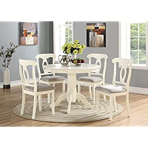 Angel Line 5 Piece Lindsey Dining Set, White/Gray