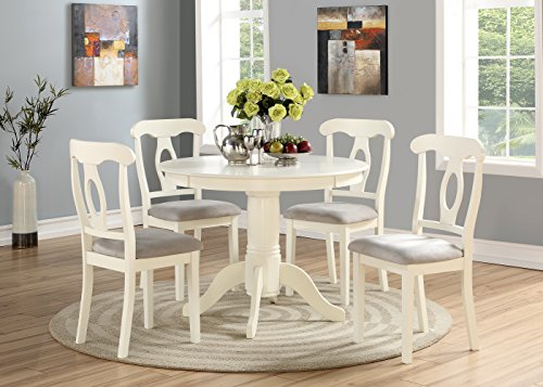 Round Dining Tables Chairs - Angel Line 23511-21 5 Piece Lindsey Dining Set, White/Gray