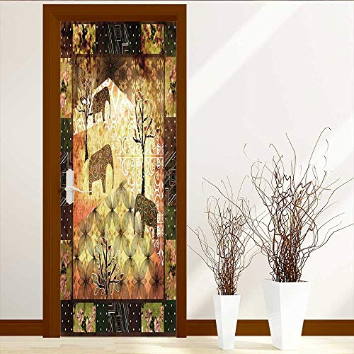 LiHomecurtain Door Wall Sticker Patchwork African Vintage Retro Glass Film for Home Office W38.5 x ()