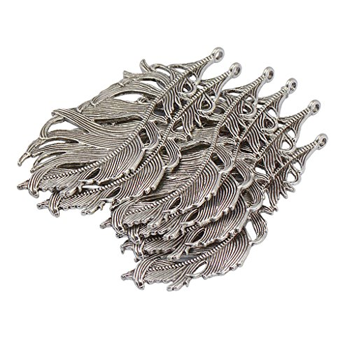 Homyl 6 Pieces 85mm x 41mm Tibetan Silver Lovely Heavy Huge Bird Feather Charm Pendant for jewelry making (bracelets, necklaces, chokers, anklet,), Crafts, bookmark, Wind -