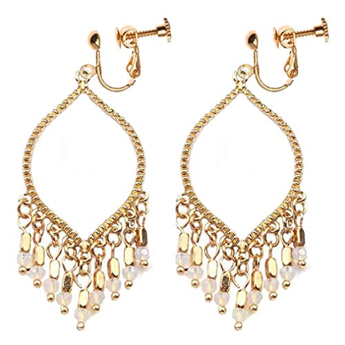 (Bohemian Teardrop Multi Dangle Tassel Gold-plated Clip on Earrings for Women Girls Prom Gifts)