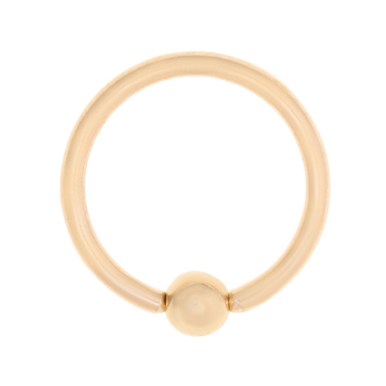 14K Yellow Gold Captive Bead Hoop Lip Eyebrow Belly Nipple Ring 16G 3/8''