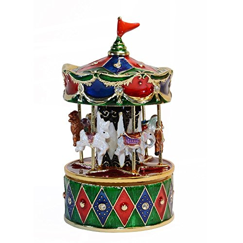 Carousel Hinged - Carousel Horse Bejeweled Treasured Trinket Jewelry Box for Necklace Collectible Figurine (Rocking Horse)