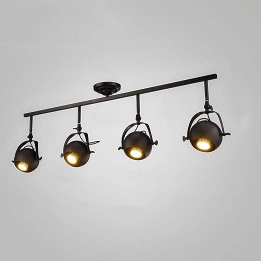XGFJQZ Retro Vintage Lámpara de Techo Industrial 4 Llamas E27 ...