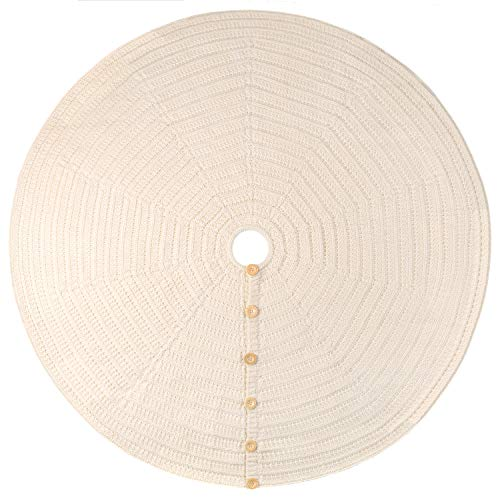 Starry Dynamo 48-Inch Knit Christmas Tree Skirt, Hand-Knitted Xmas Home Holiday Decor with 4-Inch Center Hole and 6 Wood Button-and-Loop Closure (Natural White)