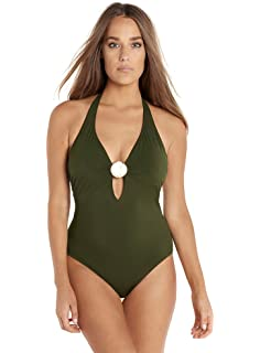 5d028eb48d0 Miraclesuit Amoressa by Women's Laura Mars One Piece Plunge Halter Swimsuit