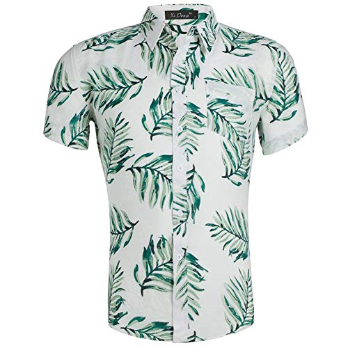 XI PENG Men's Hawaiian Shirt Floral Print Casual Button Down Short Sleeves Aloha Beach Shirt (White Green Palm Leaves XX-Large)