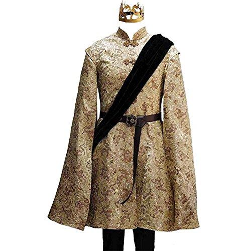Adult Joffrey Baratheon Cosplay King Wedding Costume Jacket Outfit Crown Halloween (L) -