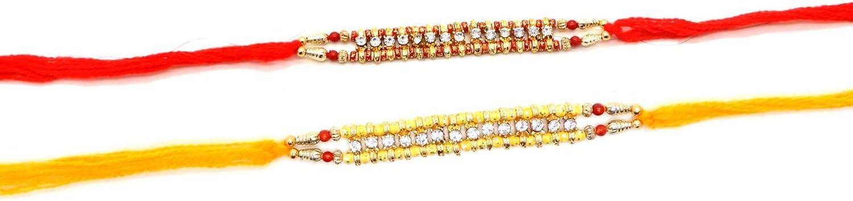 Set of Two Rakhi 14 Stone Rakhi thread,Raksha bandhan Gift for your brother,Color Vary and Multi Design