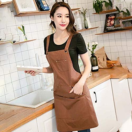 コットン キャンバス エプロン,調節可能 しわになりにくく 防水 汚れ抵抗力があります。 難燃剤 よだれかけ キッチンの ガーデニング 料理 -ブラウン 68x75cm(27x30inch)