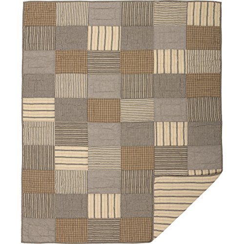 Farm Throw - VHC Brands Farmhouse Decor Miller Farm Charcoal Block Rod Pocket Cotton Pre-Washed Patchwork Throw, One Size, Grey