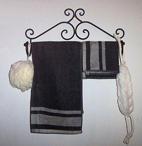''ABC Products'' - Wrought Iron Towel Rack - Elegant Scroll Work - Old World Style - Wall Hanging - (Dark Bronze Rustic Finish - Bath or Kitchen by dist by classyjacs (Image #2)