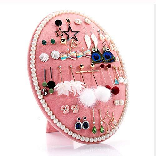 HOMANDA Pink Velvet Oval Earring Jewelry Display Organizer Holder