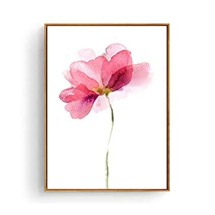 Hepix Canvas Wall Art Watercolor Pink Flowers Print Wall Paintings Abstract Wall Artwork For Home Decor 13x17inch Framed