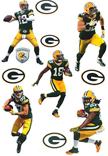 FATHEAD Green Bay Packers Team Set 5 Players, 5 Packers Logo Official NFL Vinyl Wall Graphics Aaron Rodgers, Each Player Graphic 7