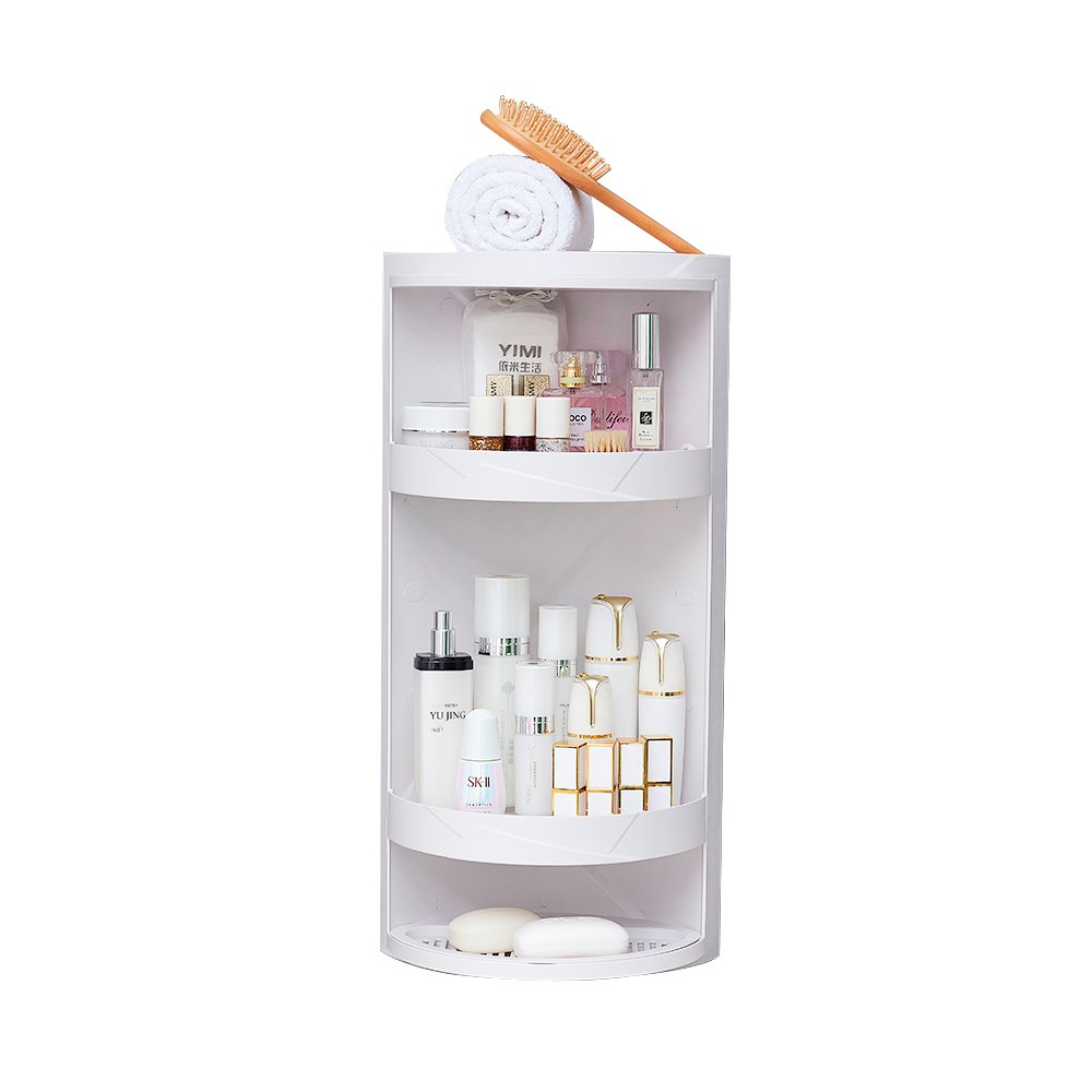 Impr3.Tree Adjustable Wall Mount Bathroom Floor Cabinet Cosmetic Storage Organizer White