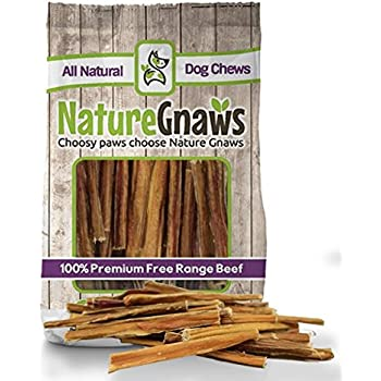 """Nature Gnaws Extra Thin Bully Sticks 5-6"""" (25 Pack) - 100% All-Natural Grass-Fed Free-Range Premium Beef Dog Chews"""