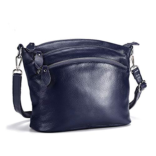 Navy Blue Leather Purse - Lecxci Genuine Leather Crossbody Purse Zipper Makeup Wallet Shoulder Bag for Lady(4 Zipper Pockets - Dark Blue)
