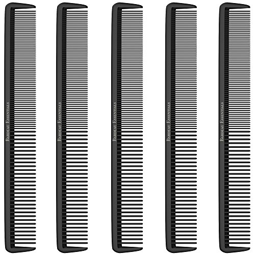"""Styling Comb (5 Pack) - Professional 8.75"""" Black Carbon Fiber Anti Static Chemical And Heat Resistant Hair Combs For All Hair Types For Men and Women - By Bardeau Essentials by Bardeau Essentials"""