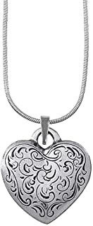 product image for DANFORTH - Florentine Heart Necklace - Pewter Pendant - Handcrafted - 18 Inch Sterling Snake Chain - Made in USA