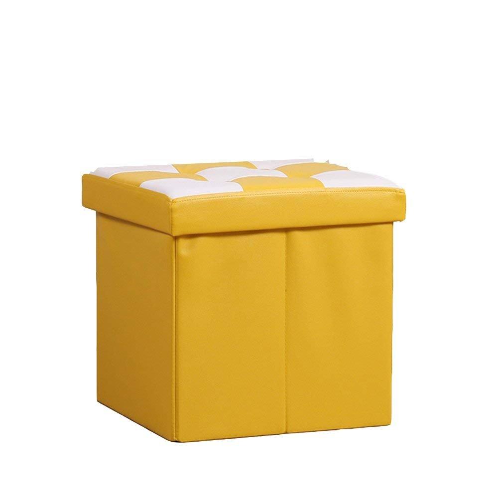 SED Sofa Stool- Storage Sofa Stool Creative Stool Storage Stool Change Shoe Stool (Yellow) (38 38 38cm) -Storage Stool by SED (Image #1)