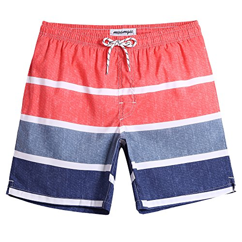 MaaMgic Mens Striped Swim Trunks with Mesh Lining Quick Dry Swim Trunks Bathing Suits