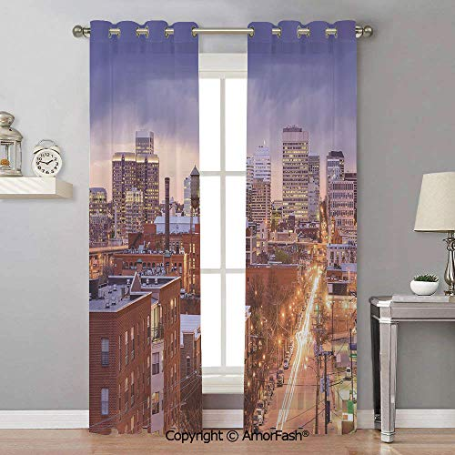 - AmorFash United States Sheer Curtain Panels Bedroom - Home Decoration Voile Panels with Ring Top,42x90 Inch Richmond Virginia Highway Office Buildings Downtown at Dusk Urban Lifestyle Decorative