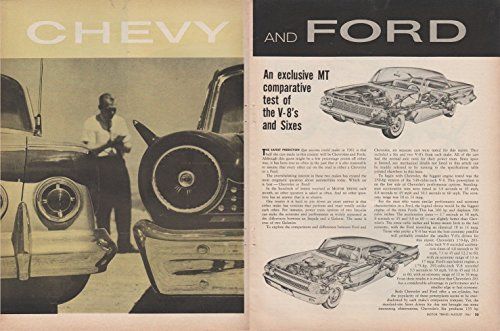 Motors V8 Ford (1961 CHEVROLET & FORD V-8's and Sixes COMPARATIVE TEST VINTAGE NON-COLOR ARTICLE - USA - MOTOR TREND - NICE ORIGINAL !!)