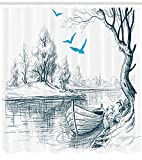 Ambesonne Landscape Shower Curtain, Boat on Calm River Trees Birds Twigs Sketch Drawing Clipart Water Minimalist, Cloth Fabric Bathroom Decor Set with Hooks, 70' Long, Petrol Blue