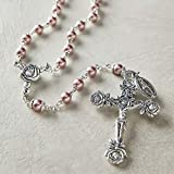 """CB Catholic Silver Swarovski Pearl Light Pink Beads Rosary Necklace with Rose Detailed 2"""" L Crucifix Pendant"""
