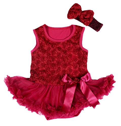 Valentine Baby Dress Floral Bodysuit Wine Red Tutu Romper Nb-18m - Romper Dresses Raspberry Infant