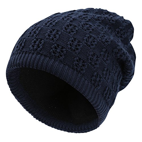 Vbiger Soft Warm Knit Hat Unisex Winter Hats and Scarves Dual-use Beanie For Men Women (Navy (Knit Men Scarf)