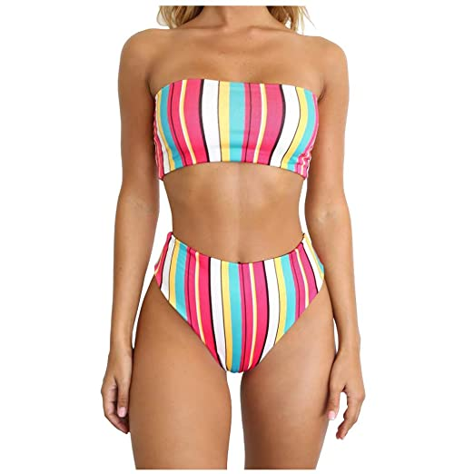 ffb4ae6c47050 Amazon.com: Dimplee Rainbow High Leg Bikini Set High Waist Cut Strapless  Stripe Bandeau Padded Two Pieces …: Clothing