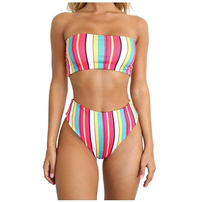 b0fa7abb344b9 Amazon.com  Dimplee Rainbow High Leg Bikini Set High Waist Cut Strapless  Stripe Bandeau Padded Two Pieces  Clothing