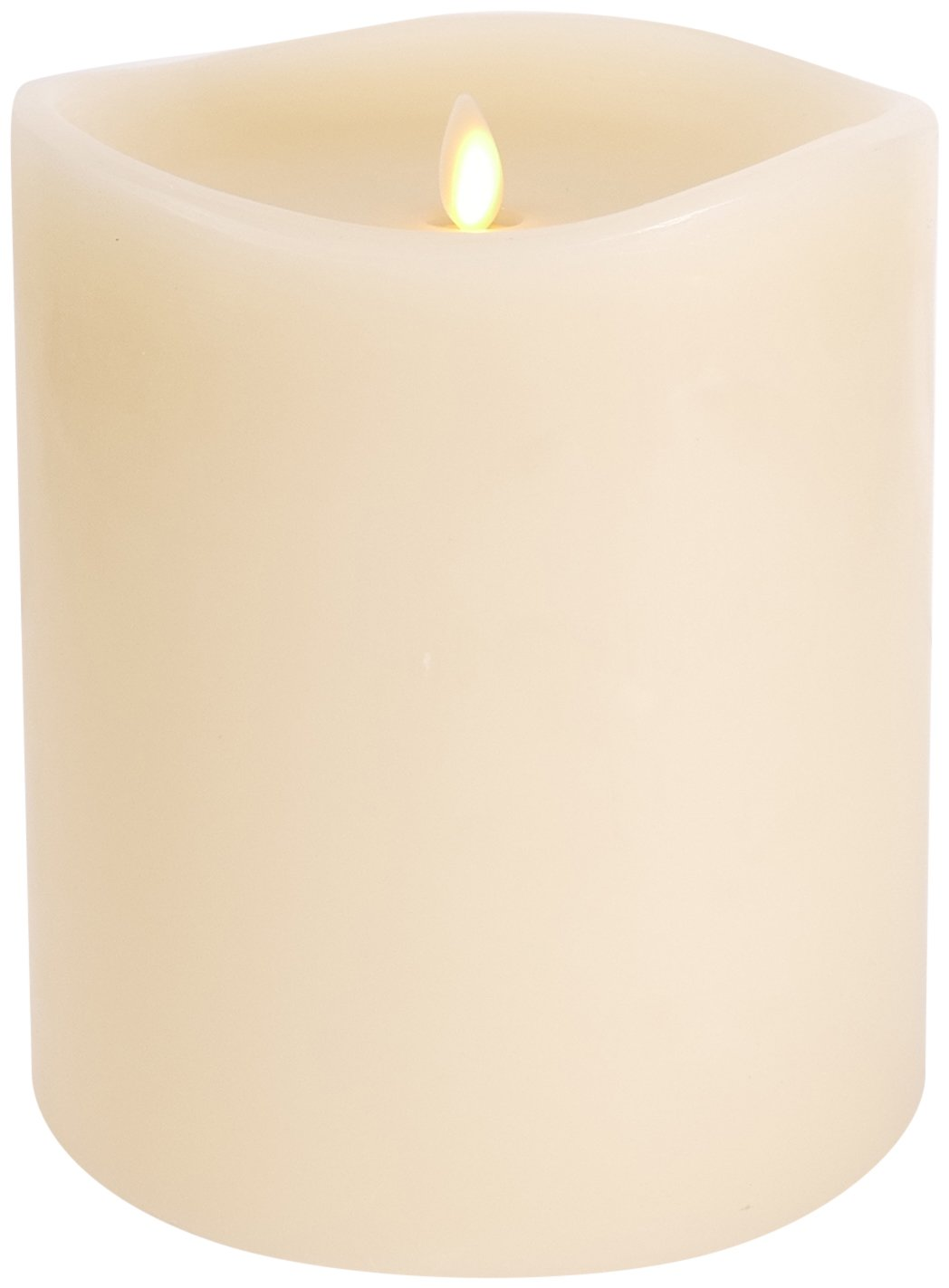 Darice Large Luminara Flameless Candle: 360° Top, Unscented Moving Flame Candle with Timer (6'' Ivory)