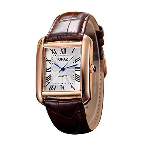 White Gold Mens Rectangle Watch (Topaz Unisex 5068AML White Face Brown Band Fashion Watch with Classic Design.)