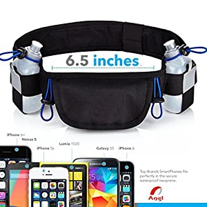 Belecoo Running Pouch Belt - iPhone 6 , 7 Plus Holder for Runners - Best Running Gear for Hands Free Workout - Waist Pack with Pockets (Blue)