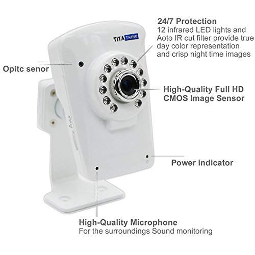 Titathink TT630W High Resolution Full HD 1080P indoor Home Wireless H.264 Network IP Camera With IR Night Vision, Built-in Microphone, Two-Way Audio, Motion Detection, Push Alarm to phone and more, Support local Micro SD memory card recording up to 128G, BaBy / Pet / Home / Workplace / Business Monitoring, Free app for IPhone, IPad, Android Smartphone and Tablet and more, Plug and play