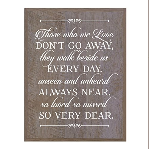 Memorial Wall Plaque - LifeSong Milestones Memorial gift for loss of loved one, Mother, Father, Wife, Husband, Son, Daughter Sympathy gift ideas wall plaque Barnwood size 8 x 10 by (Those Who We Love)